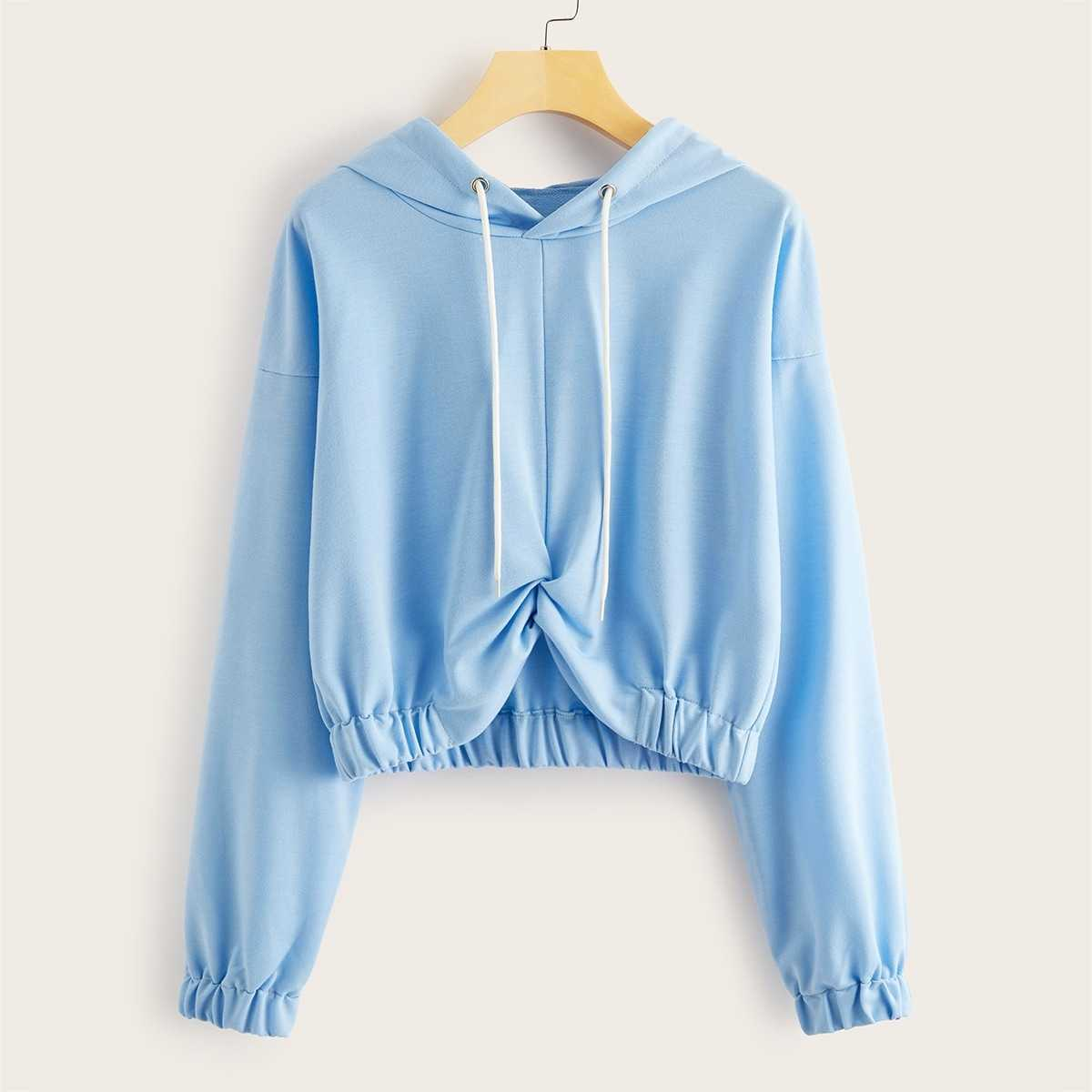 Solid Twist Front Drawstring Hoodie in Blue by ROMWE on GOOFASH