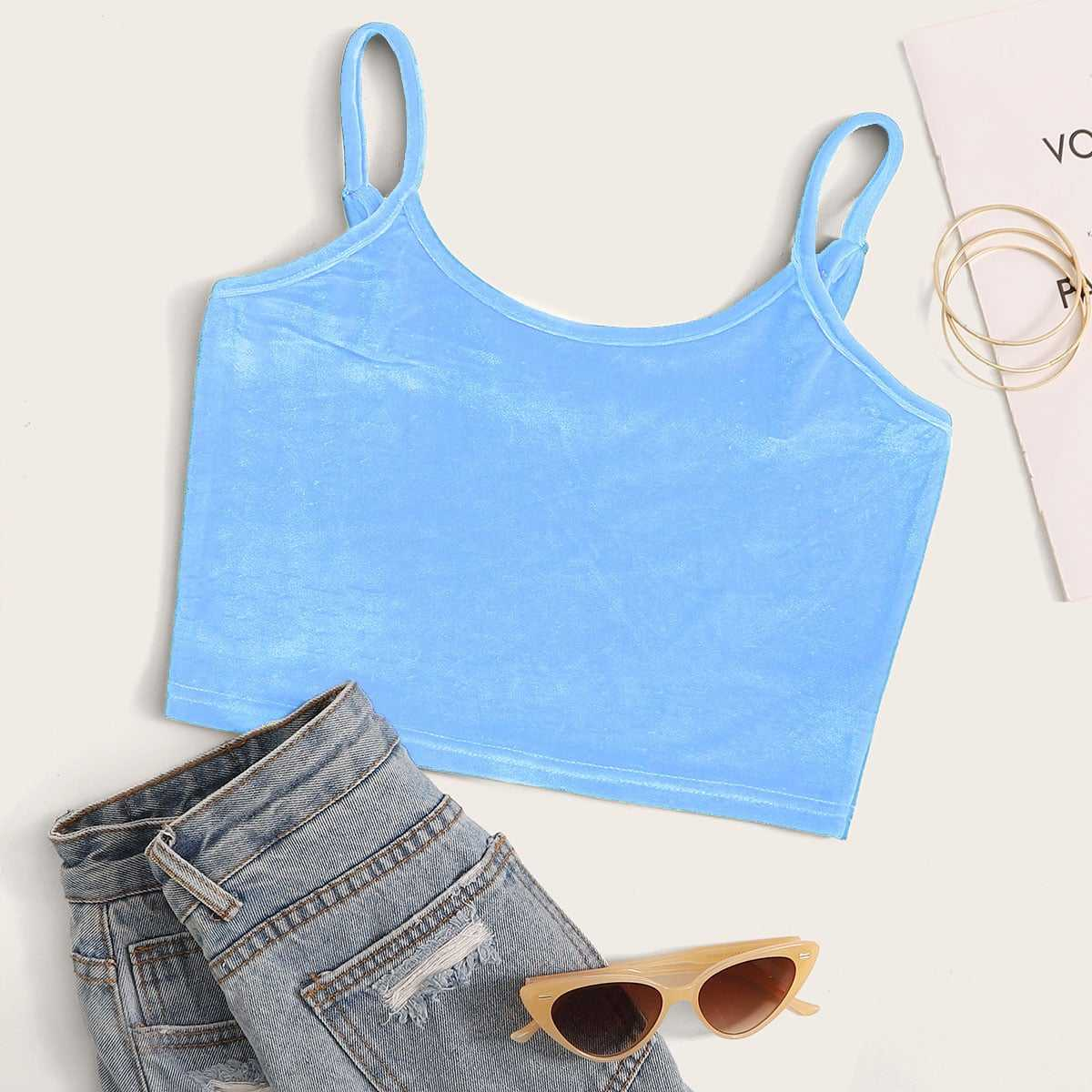 Solid Velvet Crop Cami Top in Blue by ROMWE on GOOFASH