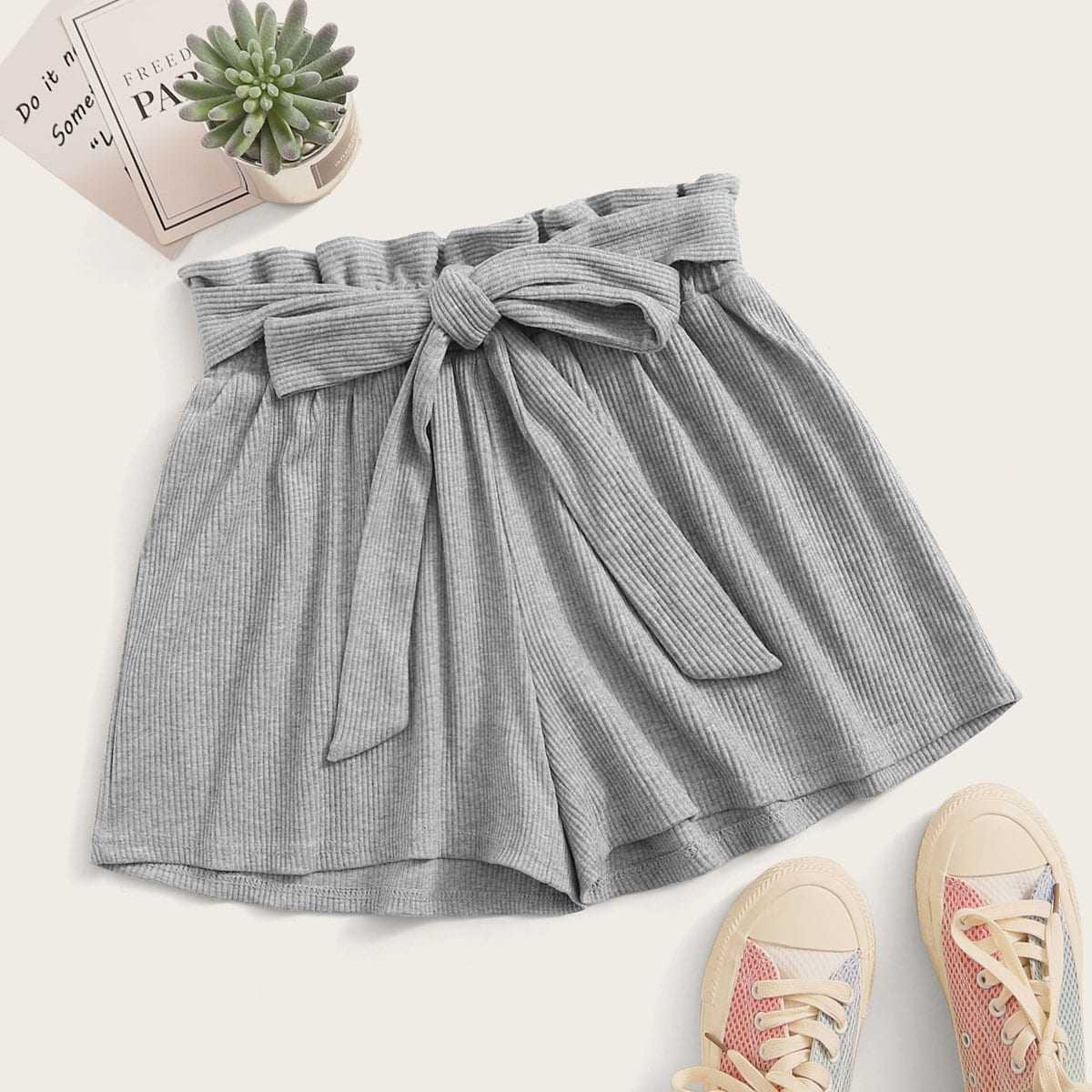 Solid Wide Leg Belted Paperbag Shorts in Grey by ROMWE on GOOFASH