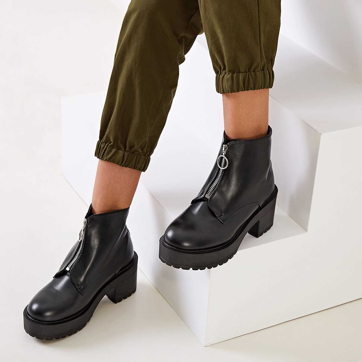 Solid Zip Front Chunky Heels in Black by ROMWE on GOOFASH