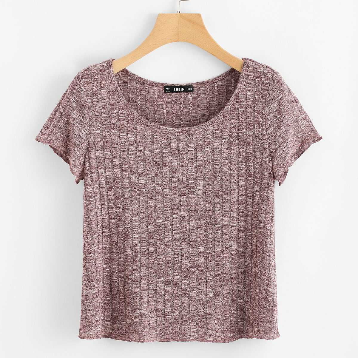 Space Dye Ribbed Knit Tee in  by ROMWE on GOOFASH