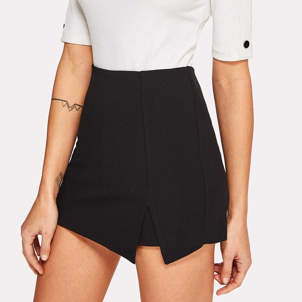 Split Front Solid Skirt Shorts in Black by ROMWE on GOOFASH
