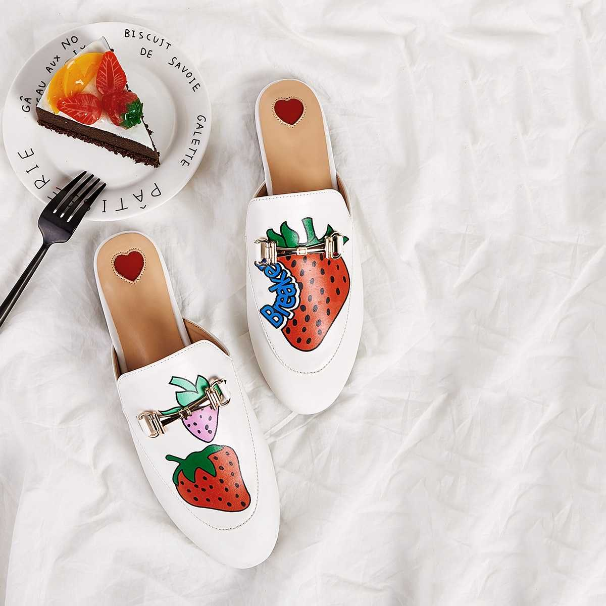 Strawberry Print Flat Mules in Multicolor by ROMWE on GOOFASH
