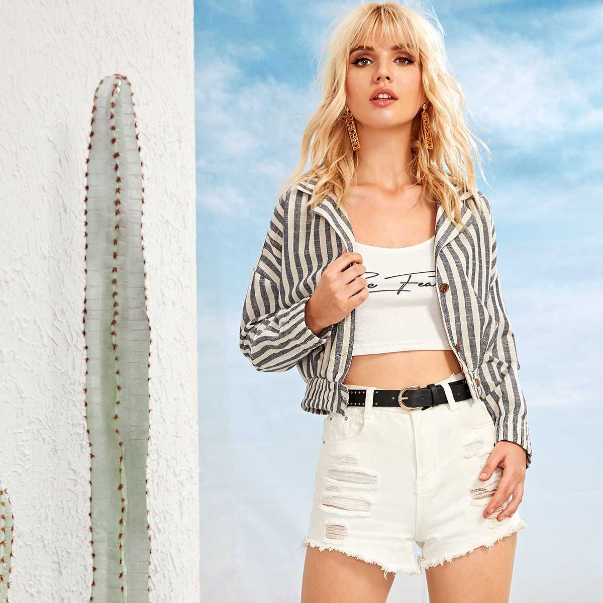 Striped Button Front Jacket in Grey by ROMWE on GOOFASH