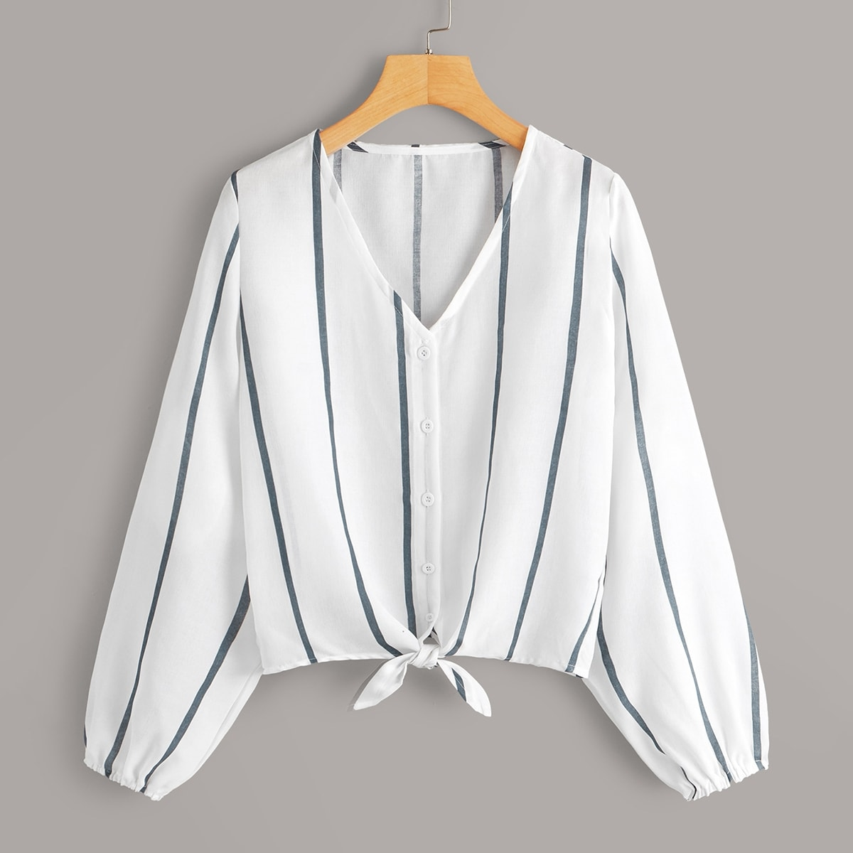 Striped Button Front Knot Blouse in White by ROMWE on GOOFASH