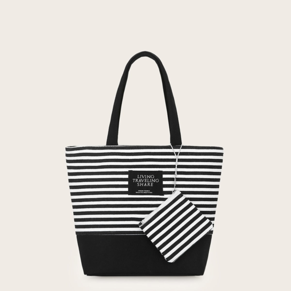 Striped Canvas Tote Bag With Coin Case in Black and White by ROMWE on GOOFASH