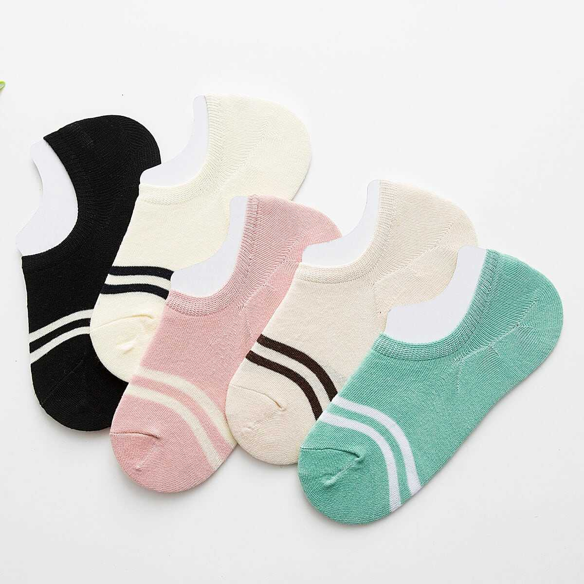 Striped Detail Invisible Socks 5Pairs in Multicolor by ROMWE on GOOFASH
