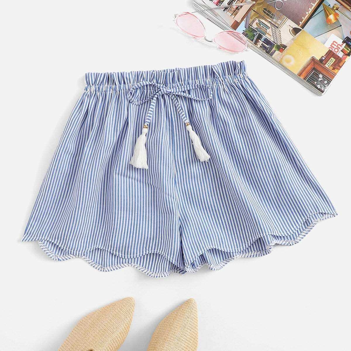 Striped Drawstring Waist Wave Edge Shorts in Blue by ROMWE on GOOFASH