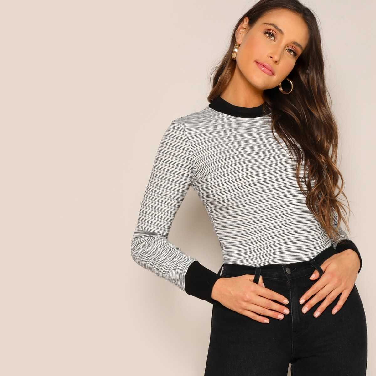 Striped Form Fitting Contrast Tee - Shein - GOOFASH