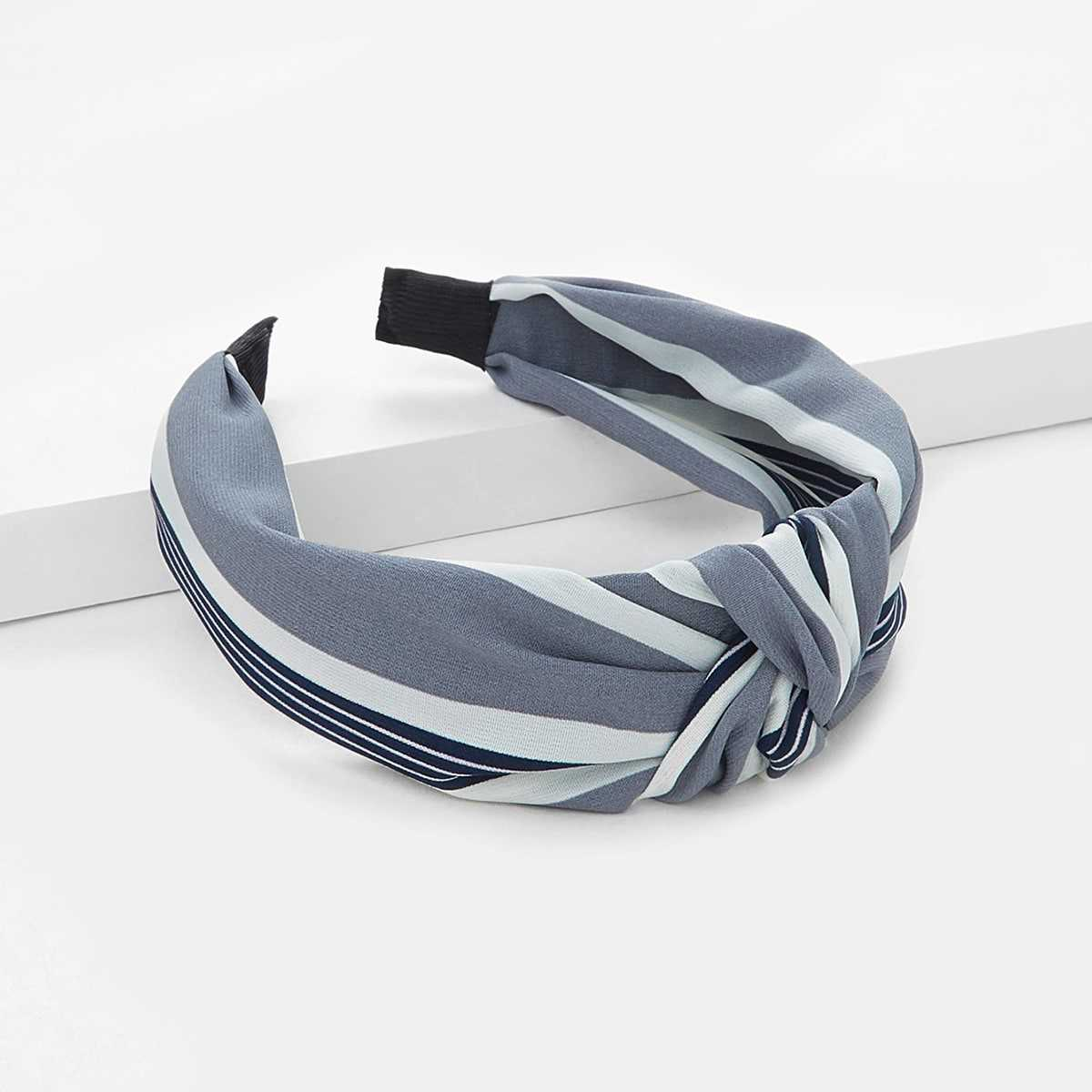 Striped Knot Headband in Grey by ROMWE on GOOFASH