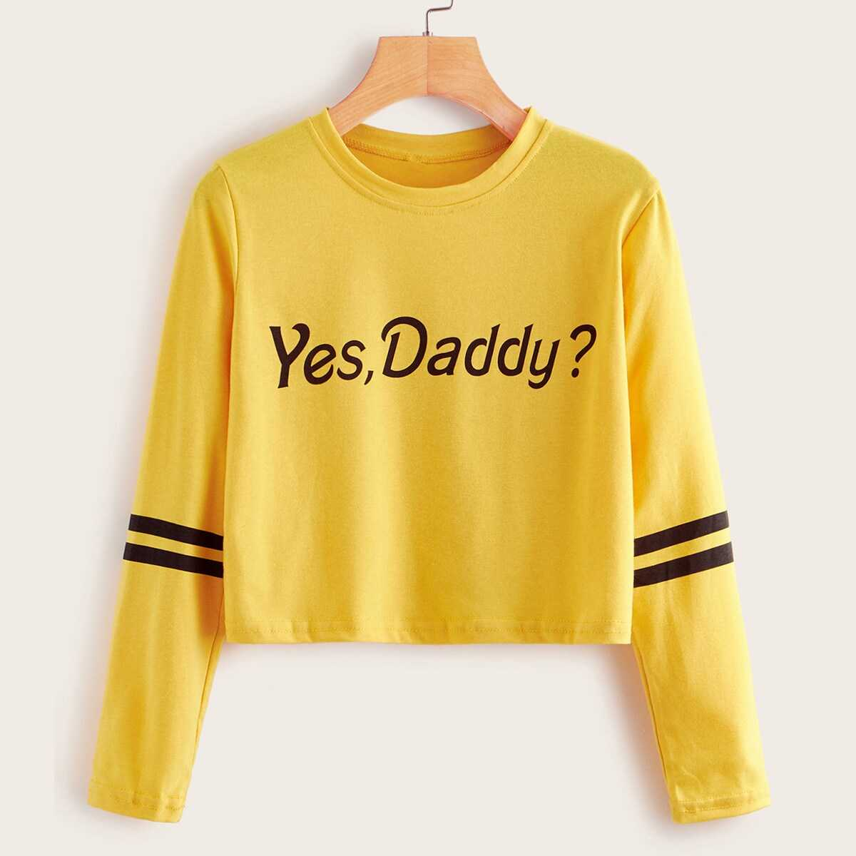 Striped Letter Print Crop Tee in Yellow by ROMWE on GOOFASH