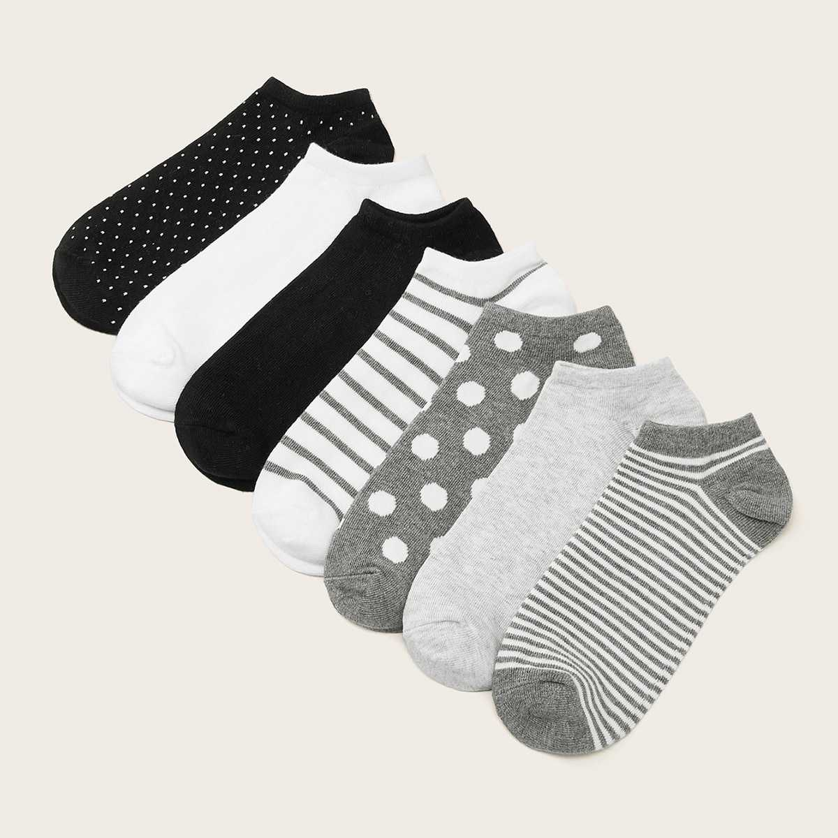 Striped & Polka Dot Pattern Socks 7pairs in Multicolor by ROMWE on GOOFASH
