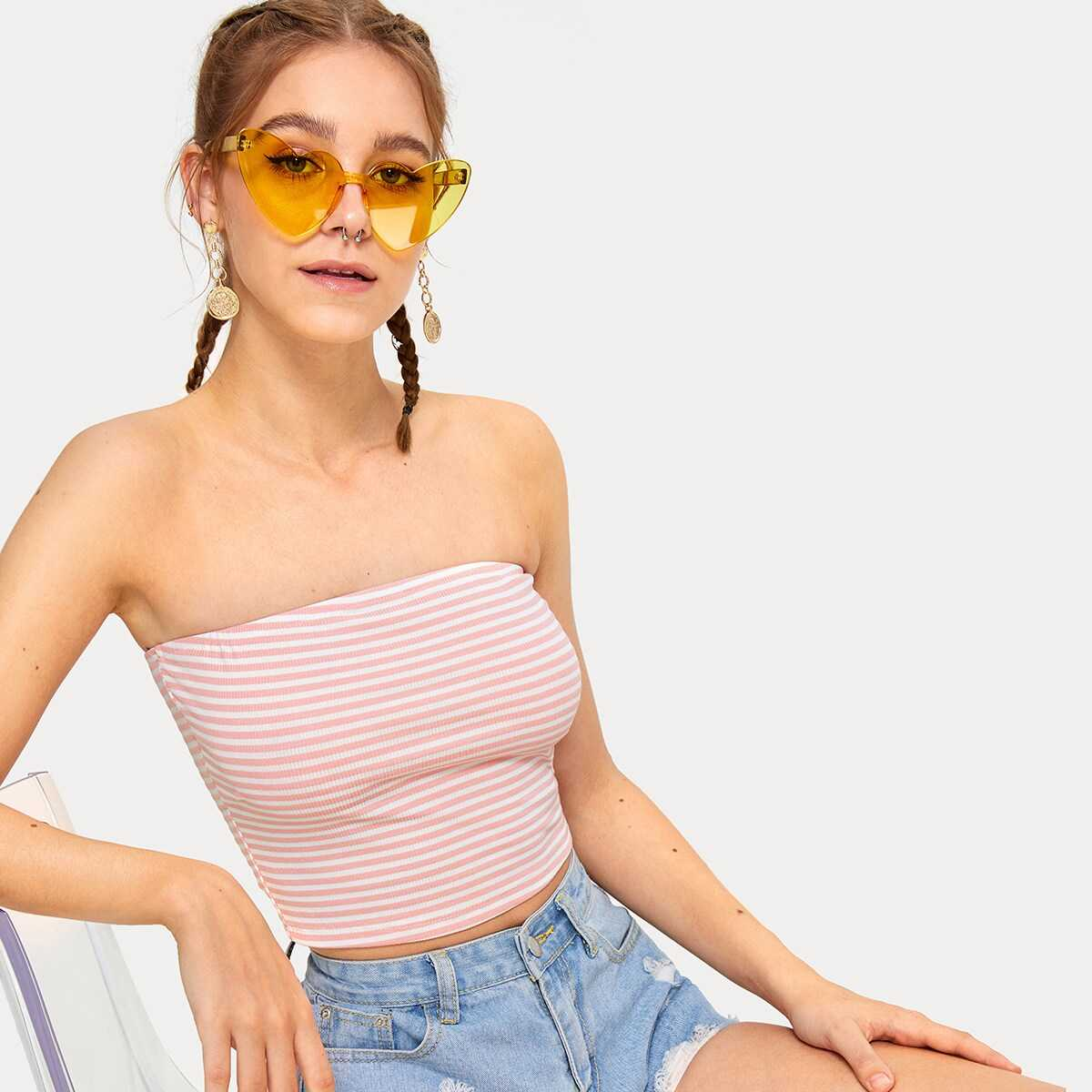 Striped Rib-knit Bandeau in Pink by ROMWE on GOOFASH