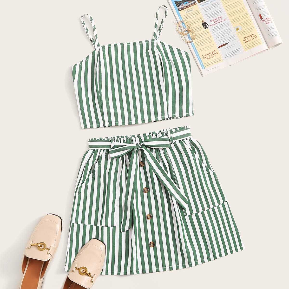 Striped Shirred Cami Top With Button Front Belted Skirt in Green by ROMWE on GOOFASH