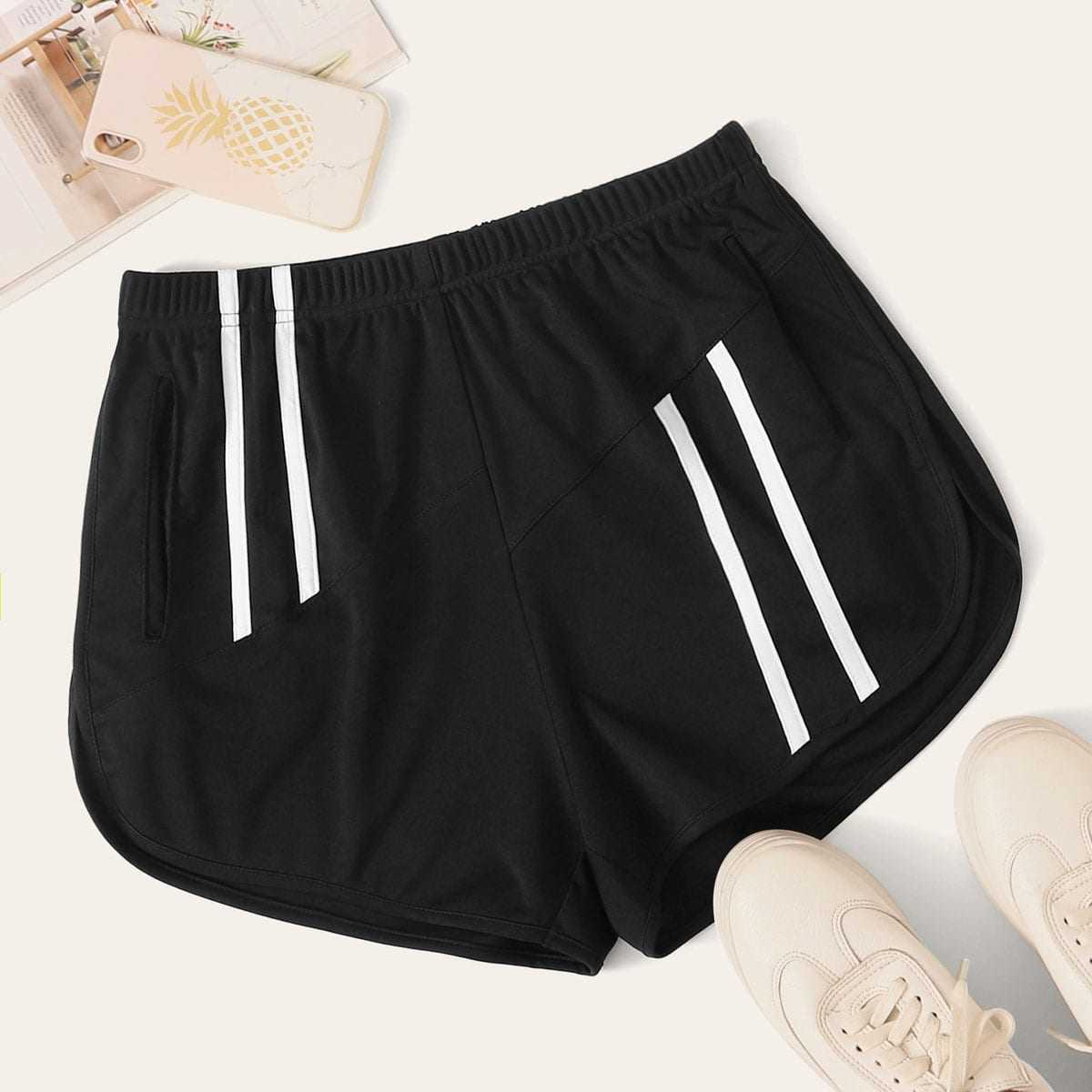 Striped Tape Panel Elastic Waist Track Shorts in Black by ROMWE on GOOFASH