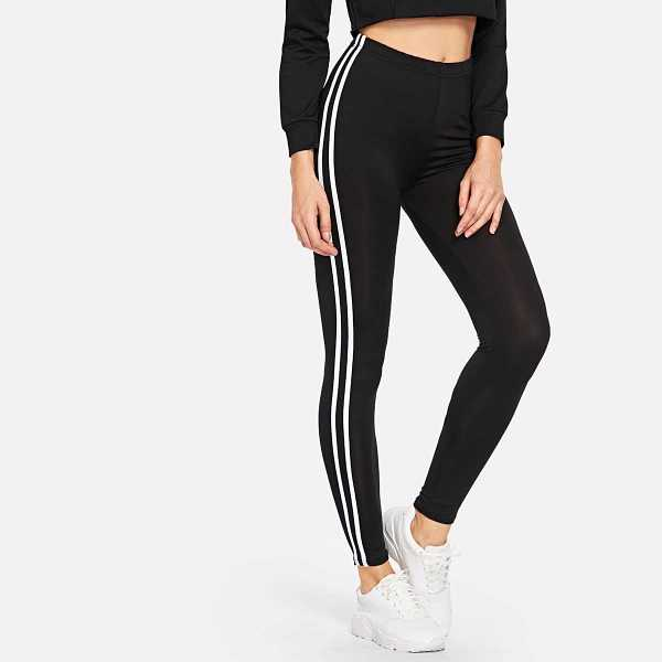 Striped Tape Side Elastic Waist Leggings in Black by ROMWE on GOOFASH