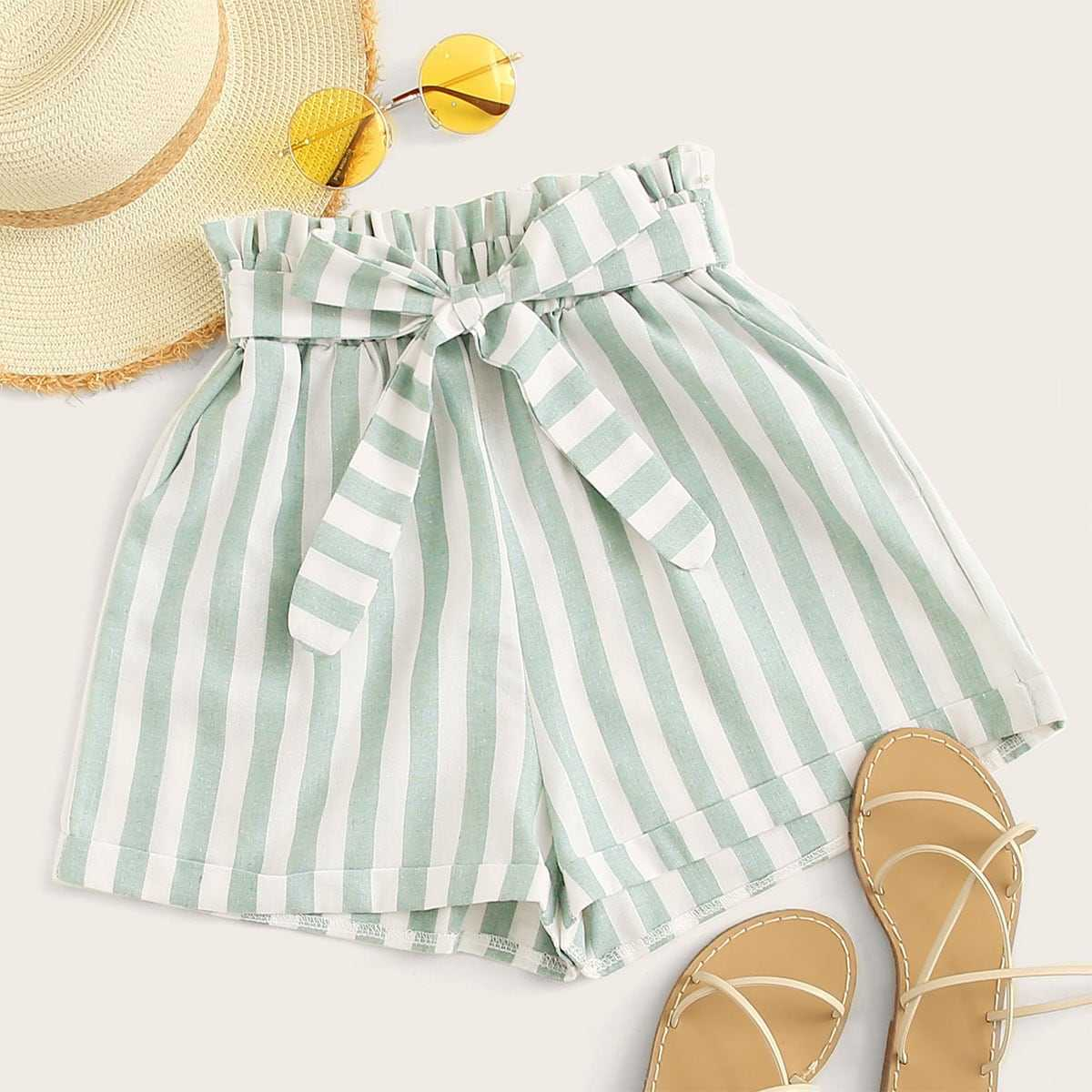 Striped Tie Front Paperbag Shorts in Green by ROMWE on GOOFASH