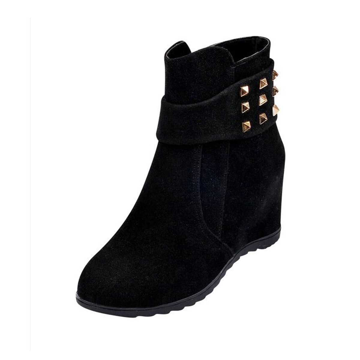Studded Decor Suede Boots in Black by ROMWE on GOOFASH