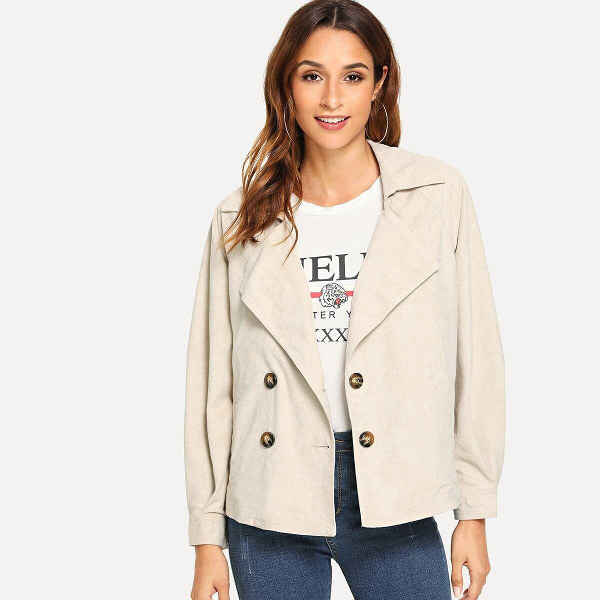 Suede Belted Double Breasted Coat - Shein - GOOFASH