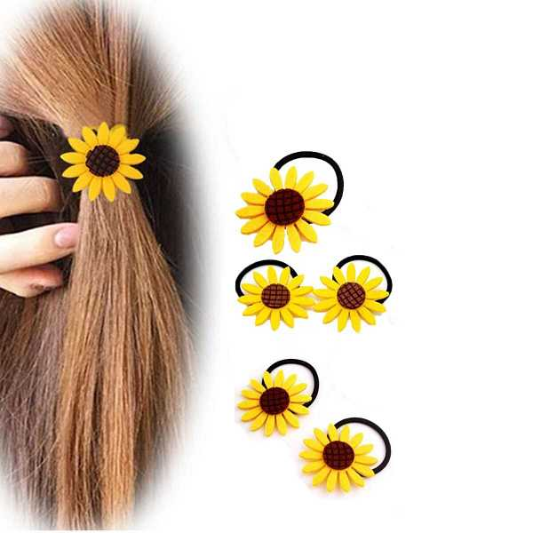 Sun Flower Decorated Hair Tie 5pcs in Yellow by ROMWE on GOOFASH