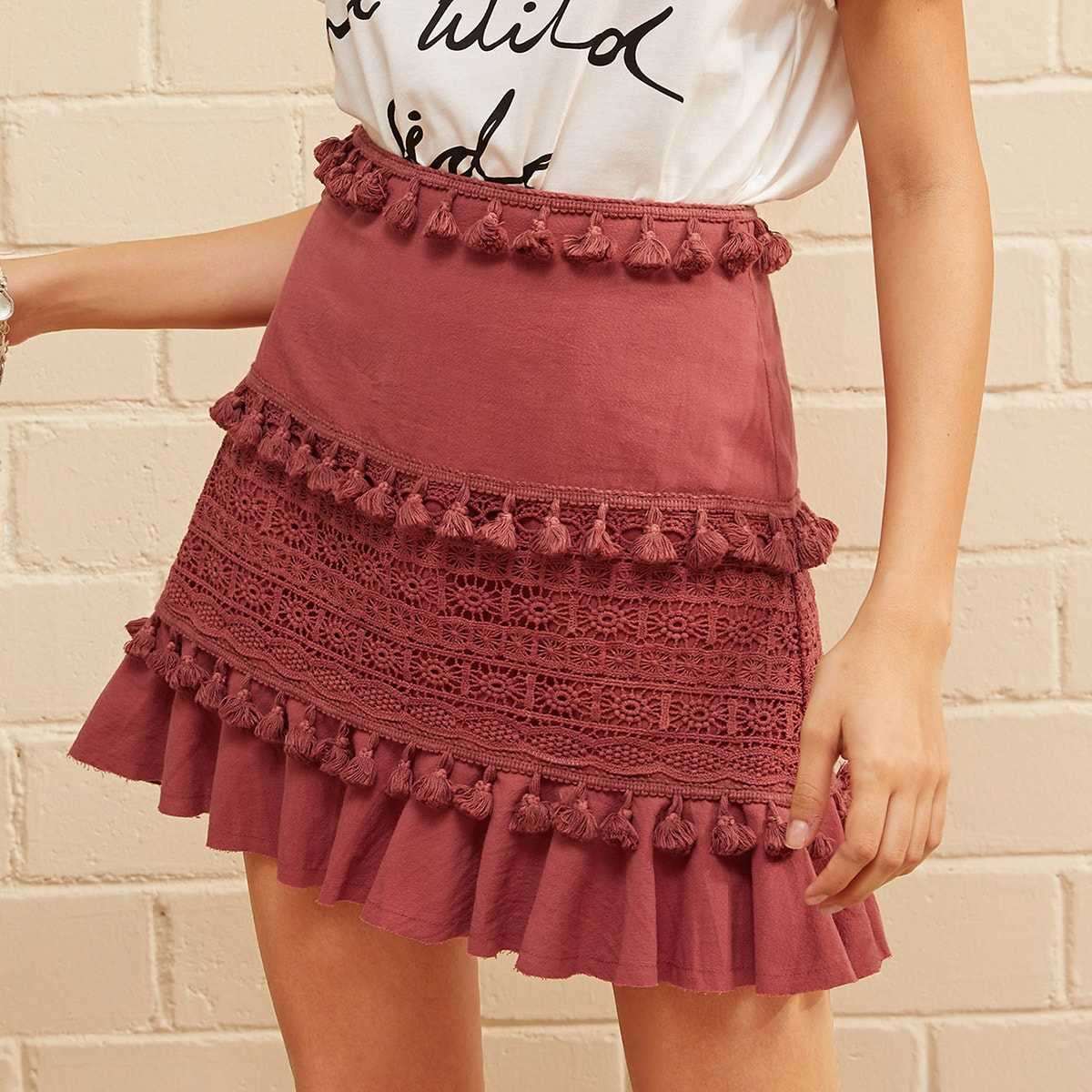 Tassel Trim Guipure Lace Detail Ruffle Skirt in Red by ROMWE on GOOFASH