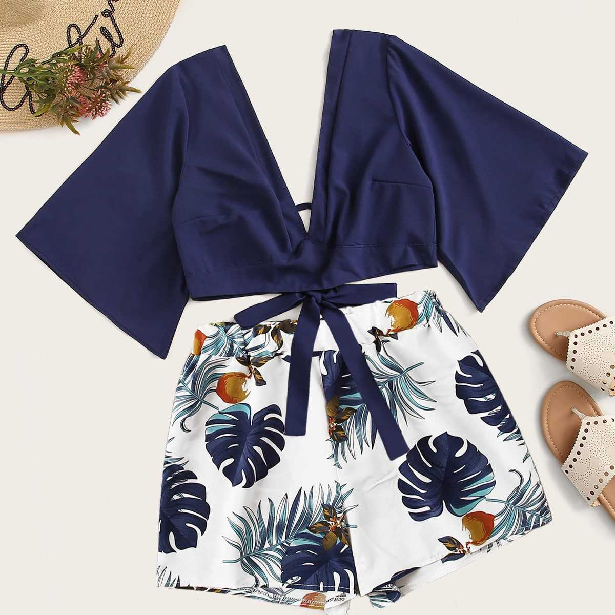 Tie Back Plunging Neck Top & Tropical Print Shorts in Multicolor by ROMWE on GOOFASH