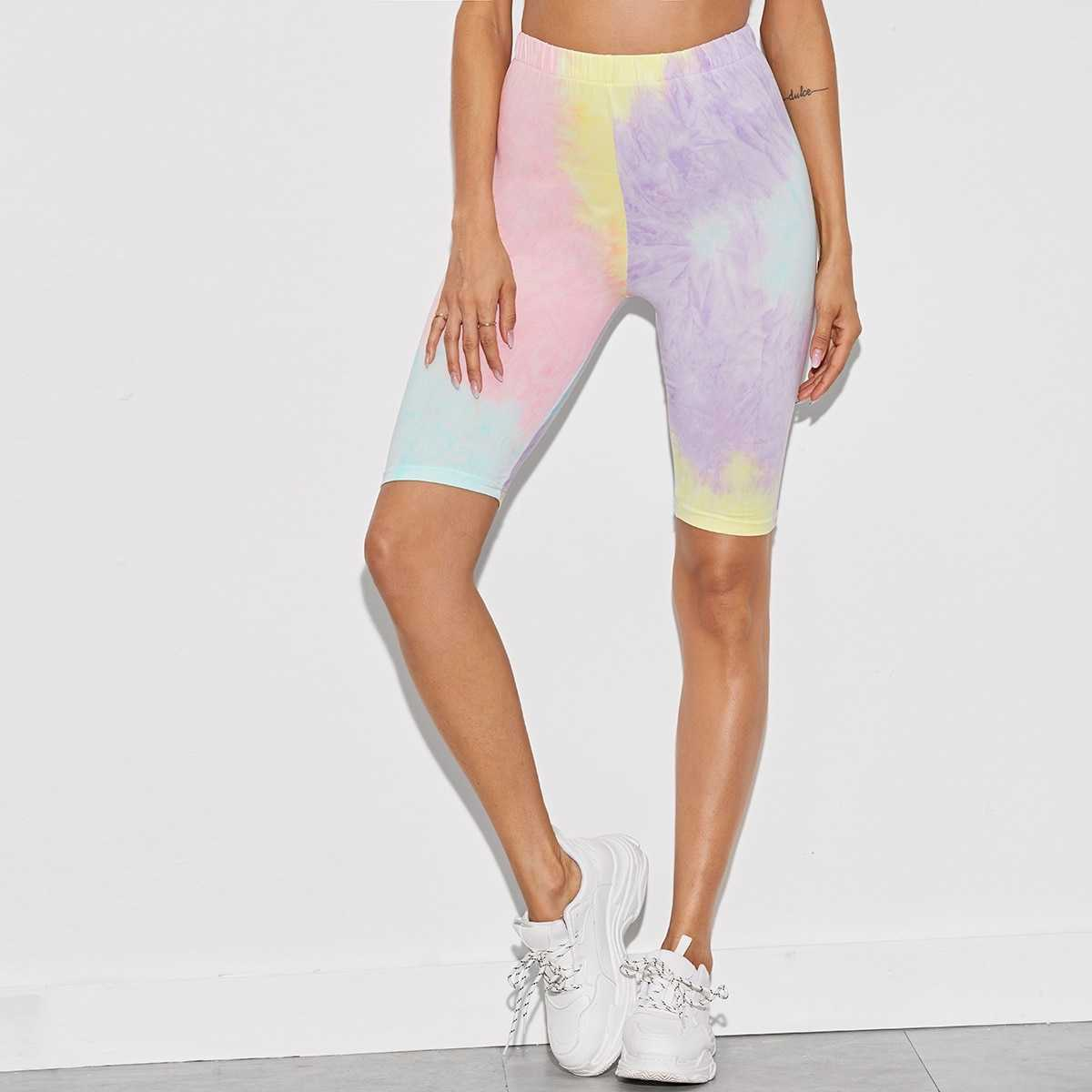 Tie Dye Pastel Color Cycling Shorts in Multicolor by ROMWE on GOOFASH