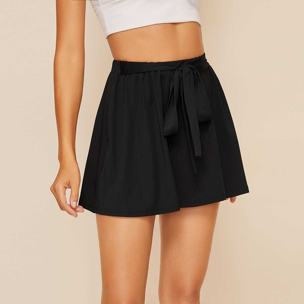 Tie Front Skater Skirt in Black by ROMWE on GOOFASH