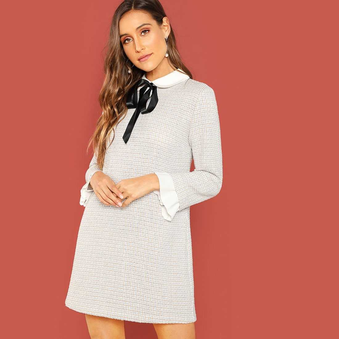 Tie Neck Contrast Trim Tweed Dress in White by ROMWE on GOOFASH