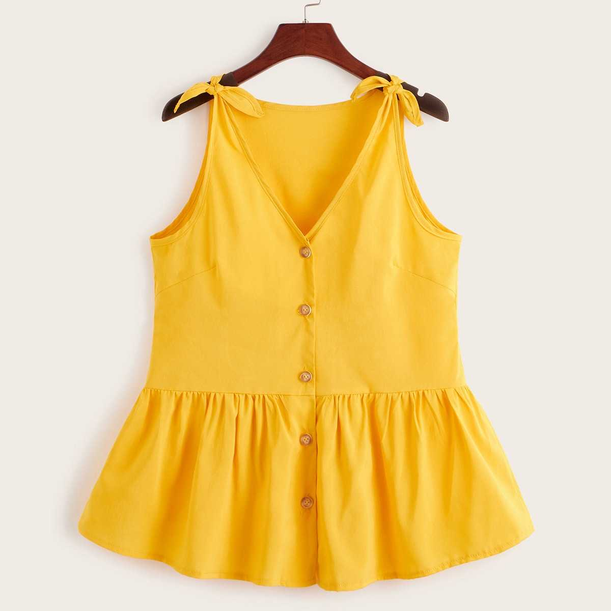 Tie Shoulder Button Front Peplum Top in Yellow by ROMWE on GOOFASH