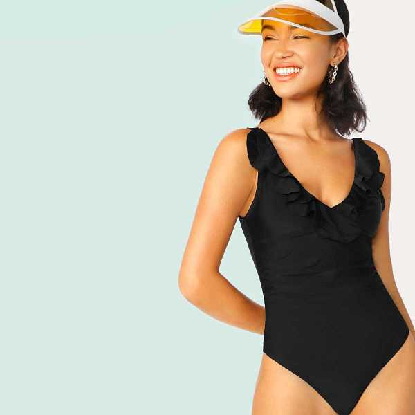 Tiered Flounce Ruched U Back One Piece Swimsuit - Shein - GOOFASH