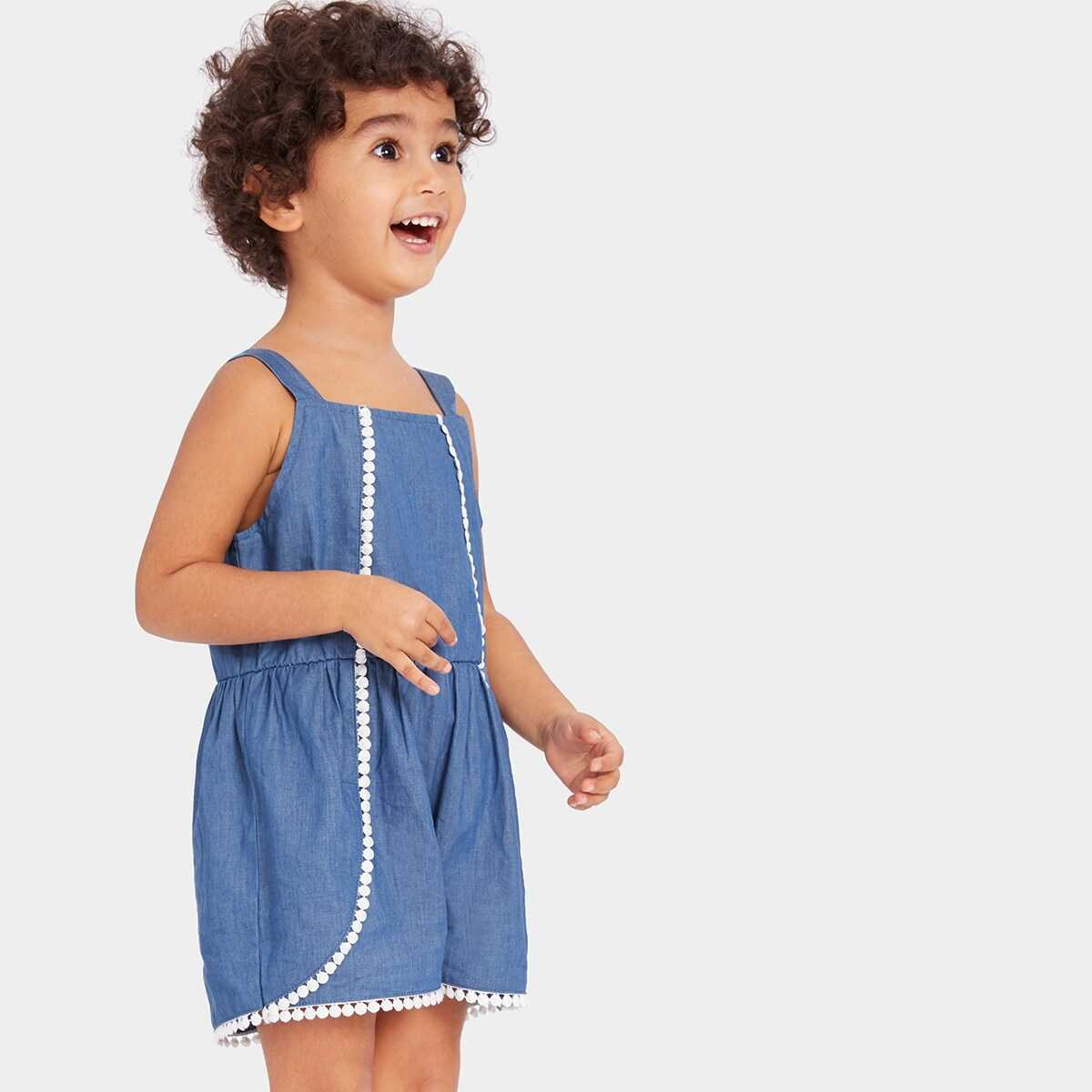 Toddler Girls Dot Lace Pleated Jumpsuits - Shein - GOOFASH