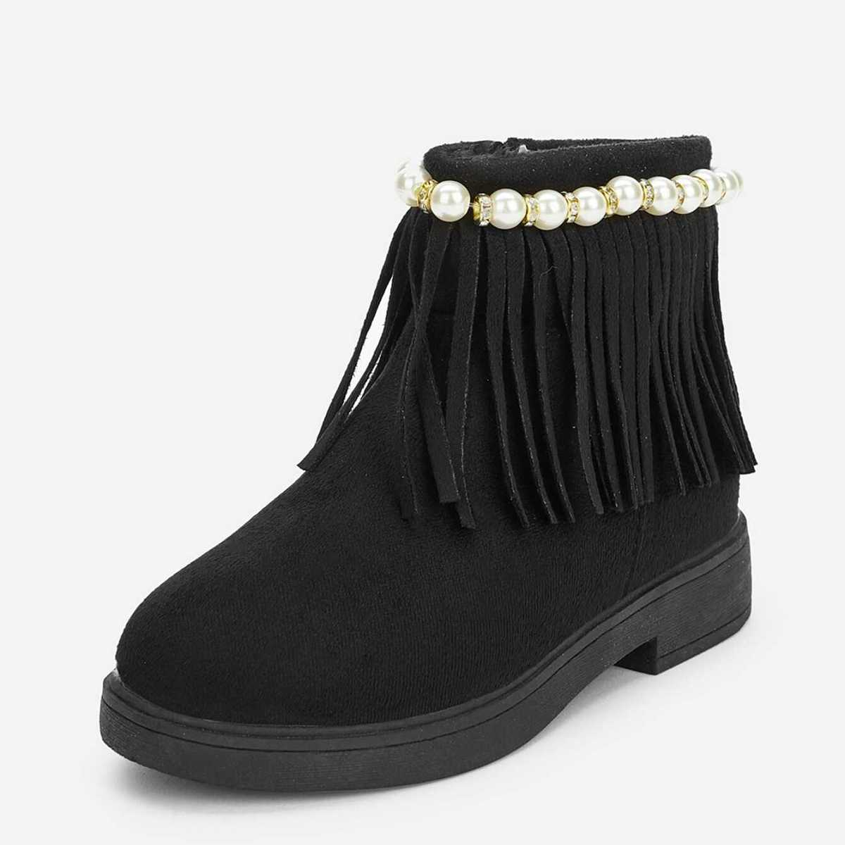 Toddler Girls Faux Pearl & Tassel Decorated Ankle Boots - Shein - GOOFASH