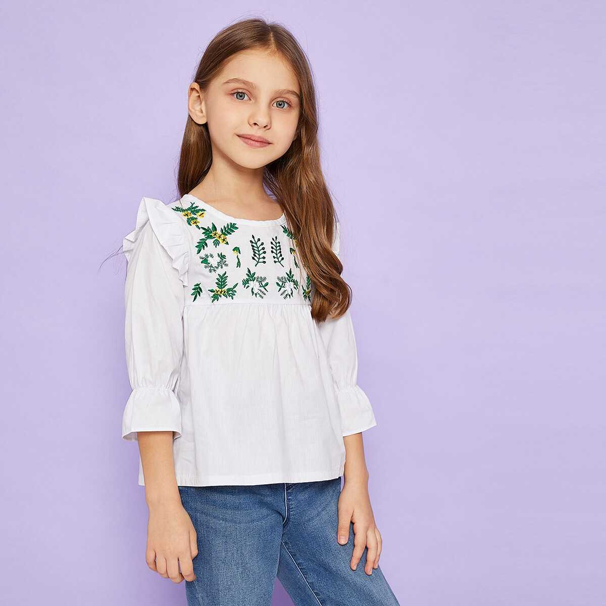 Toddler Girls Plants Embroidery Ruffle Trim Blouse - Shein - GOOFASH