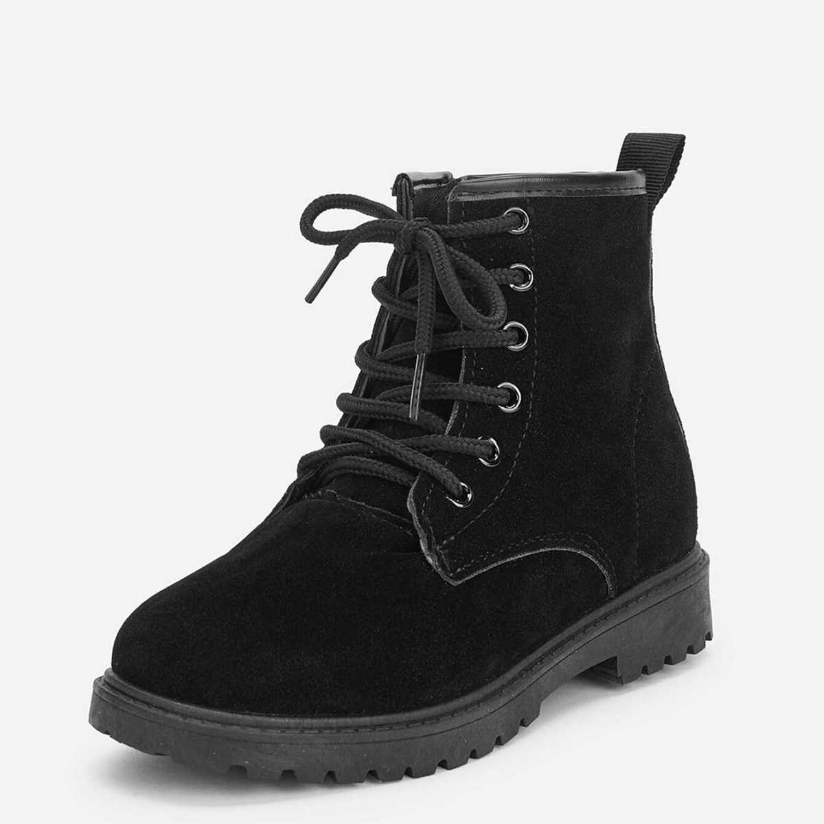 Toddler Kids Zipper Detail Lace-up Ankle Boots - Shein - GOOFASH
