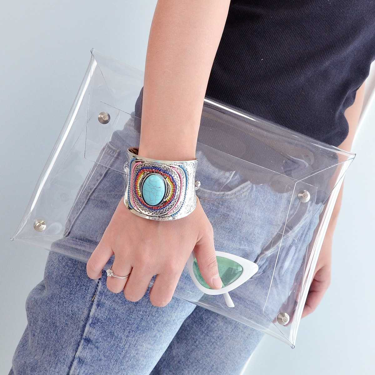 Transparent Envelope Clutch Bag in White by ROMWE on GOOFASH