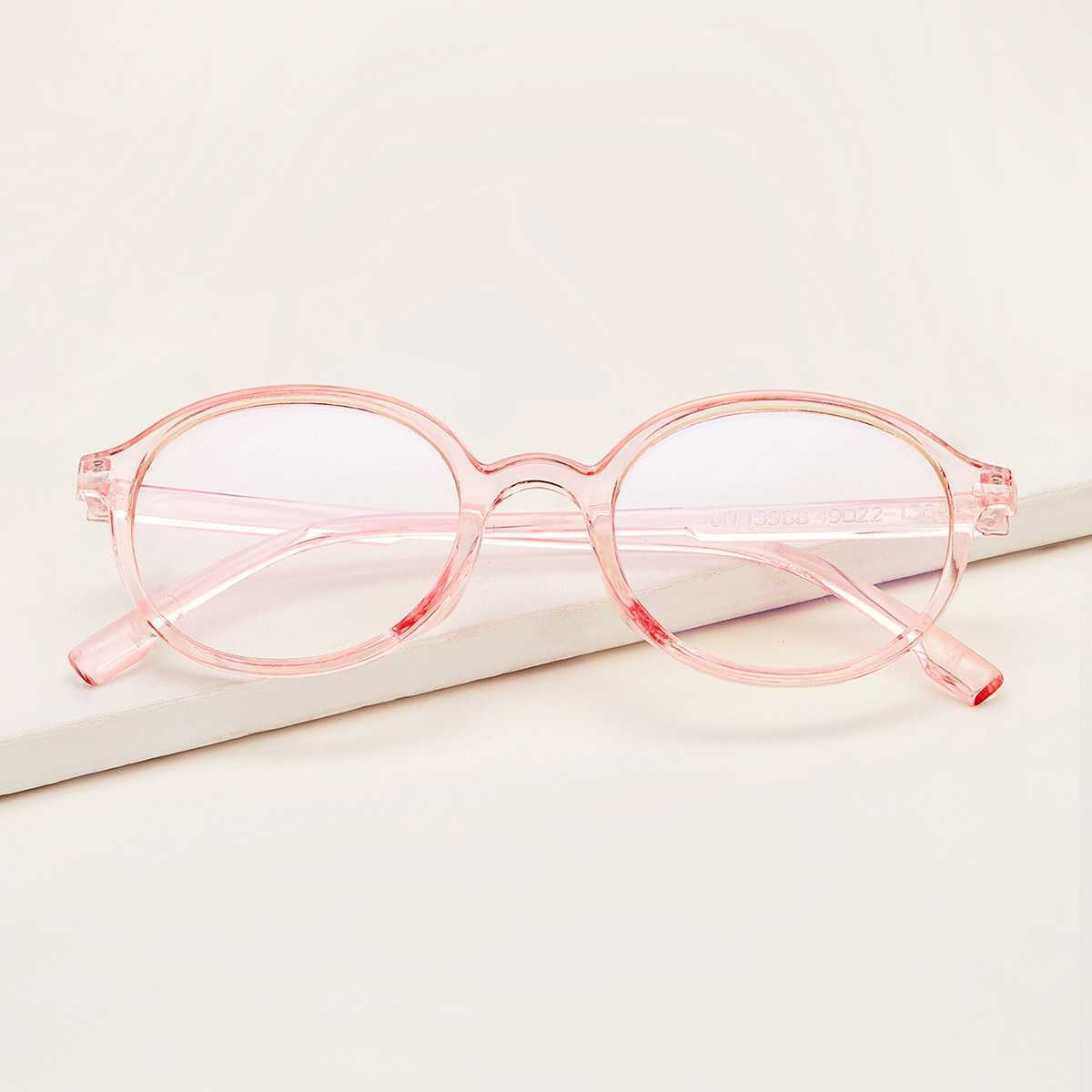 Transparent Frame Glasses in Pink by ROMWE on GOOFASH