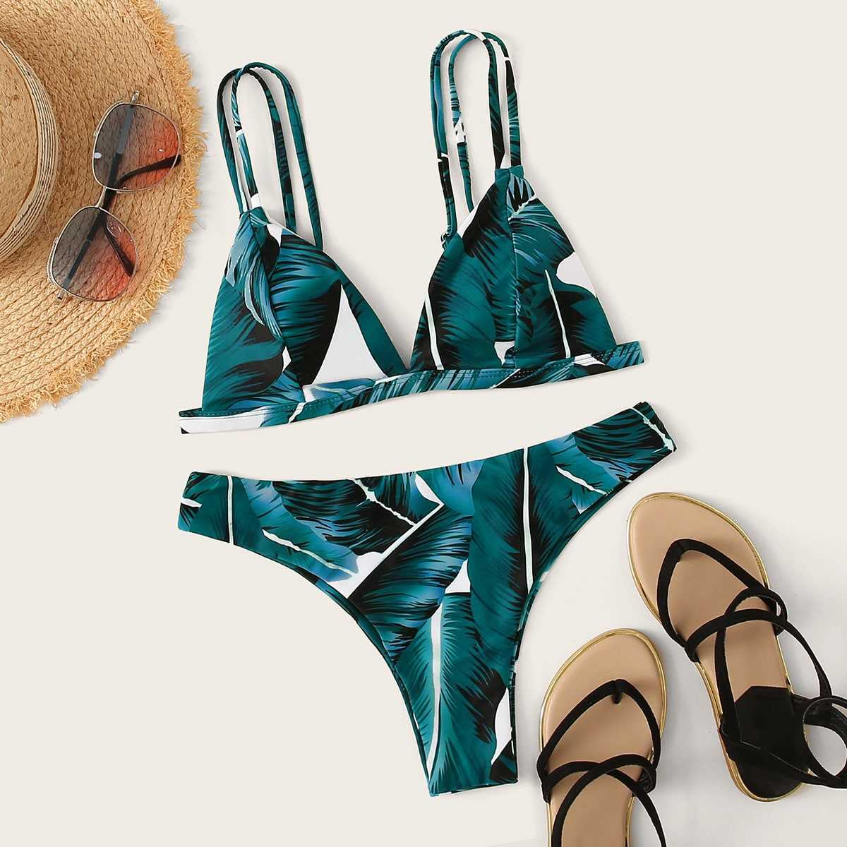 Tropical Triangle Top With Cheeky Bikini Set in Blue by ROMWE on GOOFASH