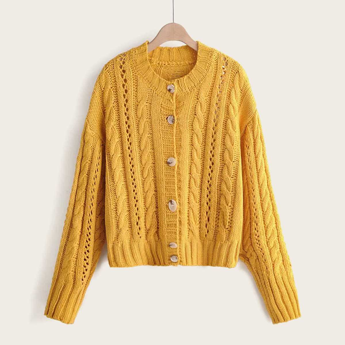 Twist Cable Knitted Sweater in Yellow by ROMWE on GOOFASH