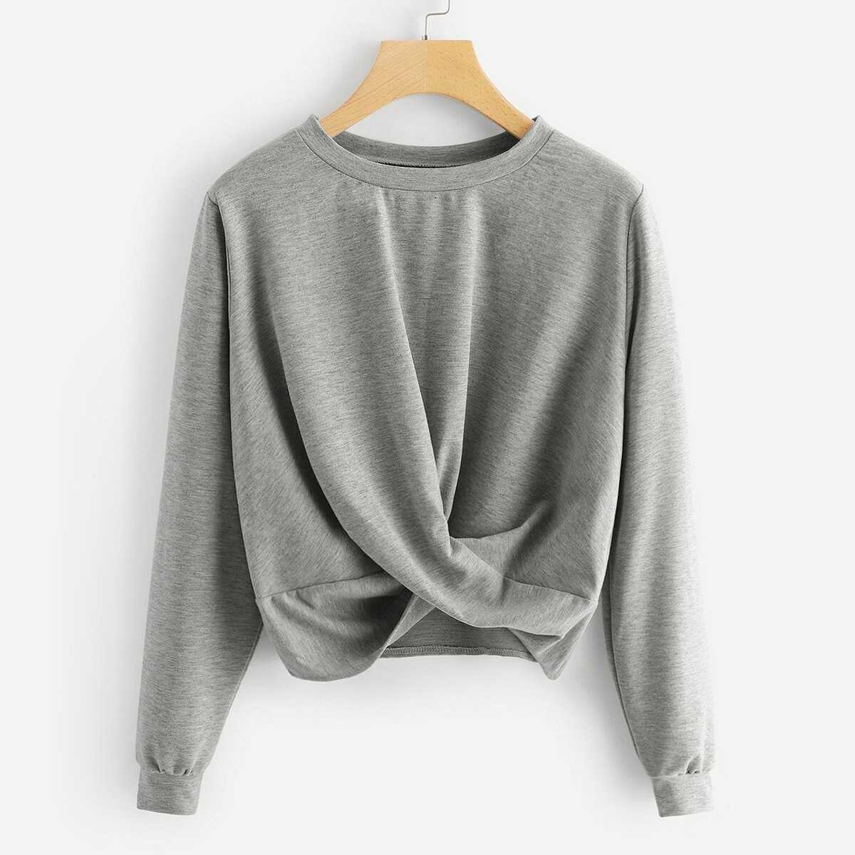 Twist Detail Solid Sweatshirt - Shein - GOOFASH