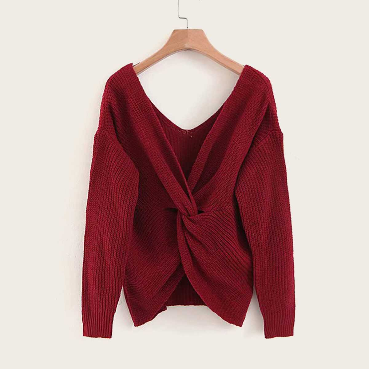 Twist Front Drop Shoulder Sweater in Burgundy by ROMWE on GOOFASH