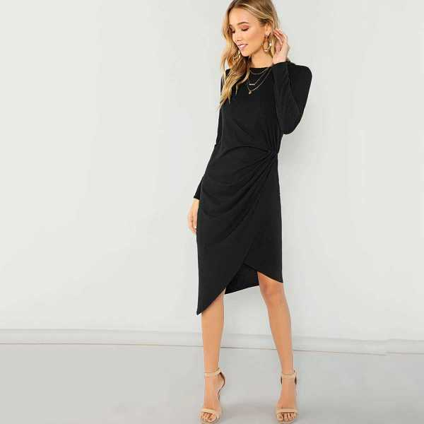 Twist Side Wrap Asymmetrical Dress in Black by ROMWE on GOOFASH
