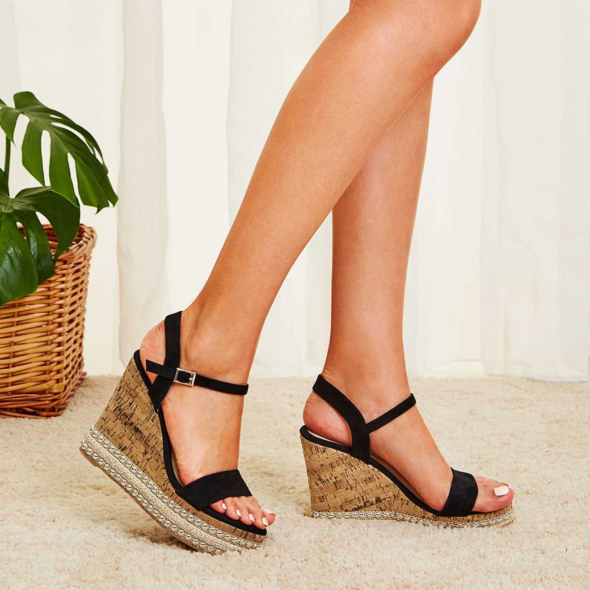 Two Part Beaded Cork Wedges in Black by ROMWE on GOOFASH