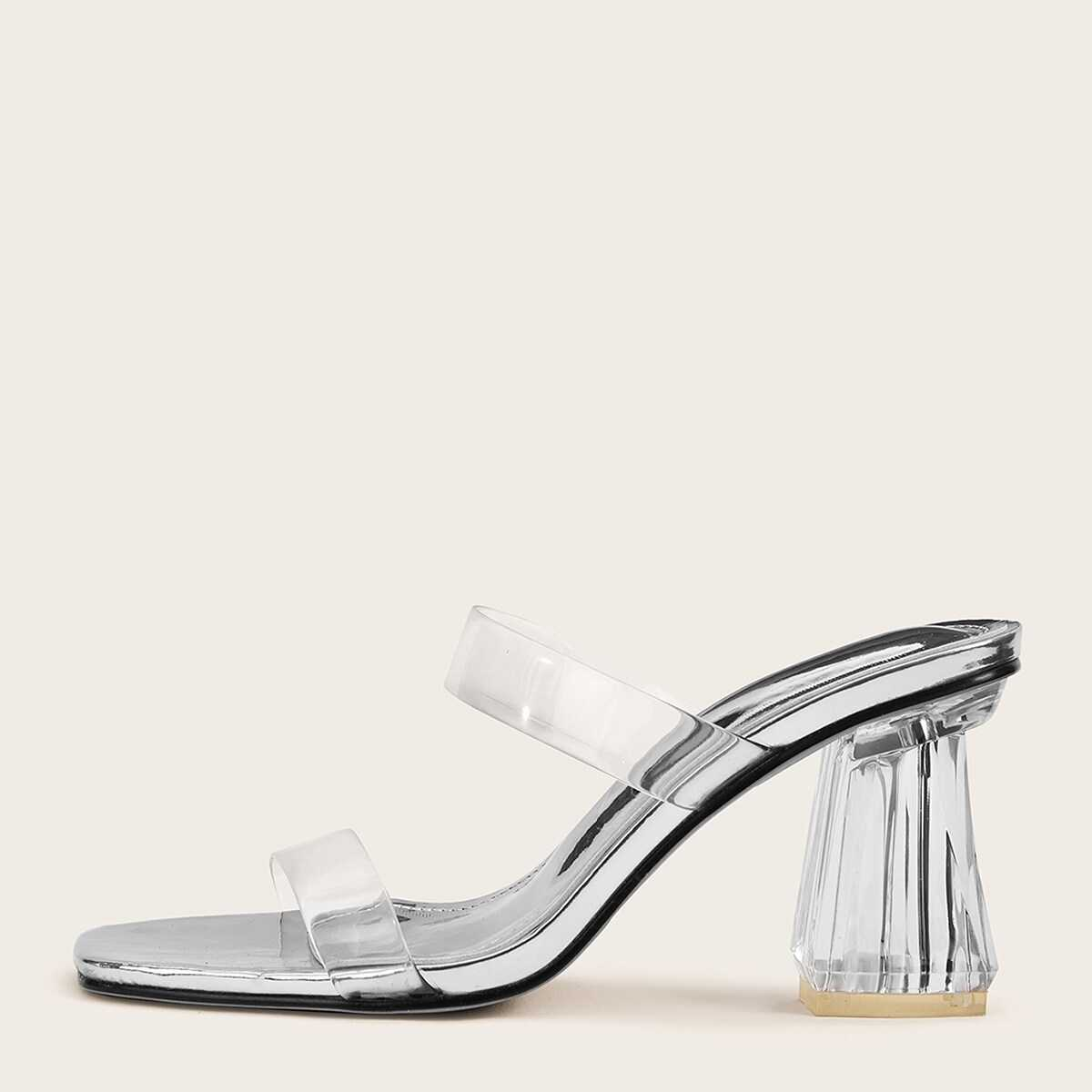 Two Part Clear Strap Chunky Heels - Shein - GOOFASH