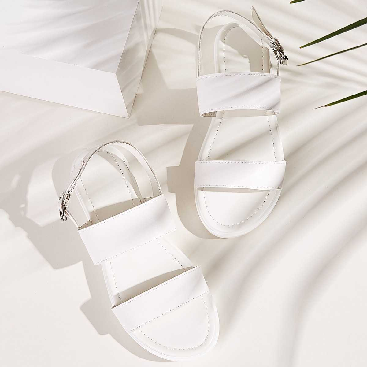 Two Part Slingback Sandals in White by ROMWE on GOOFASH