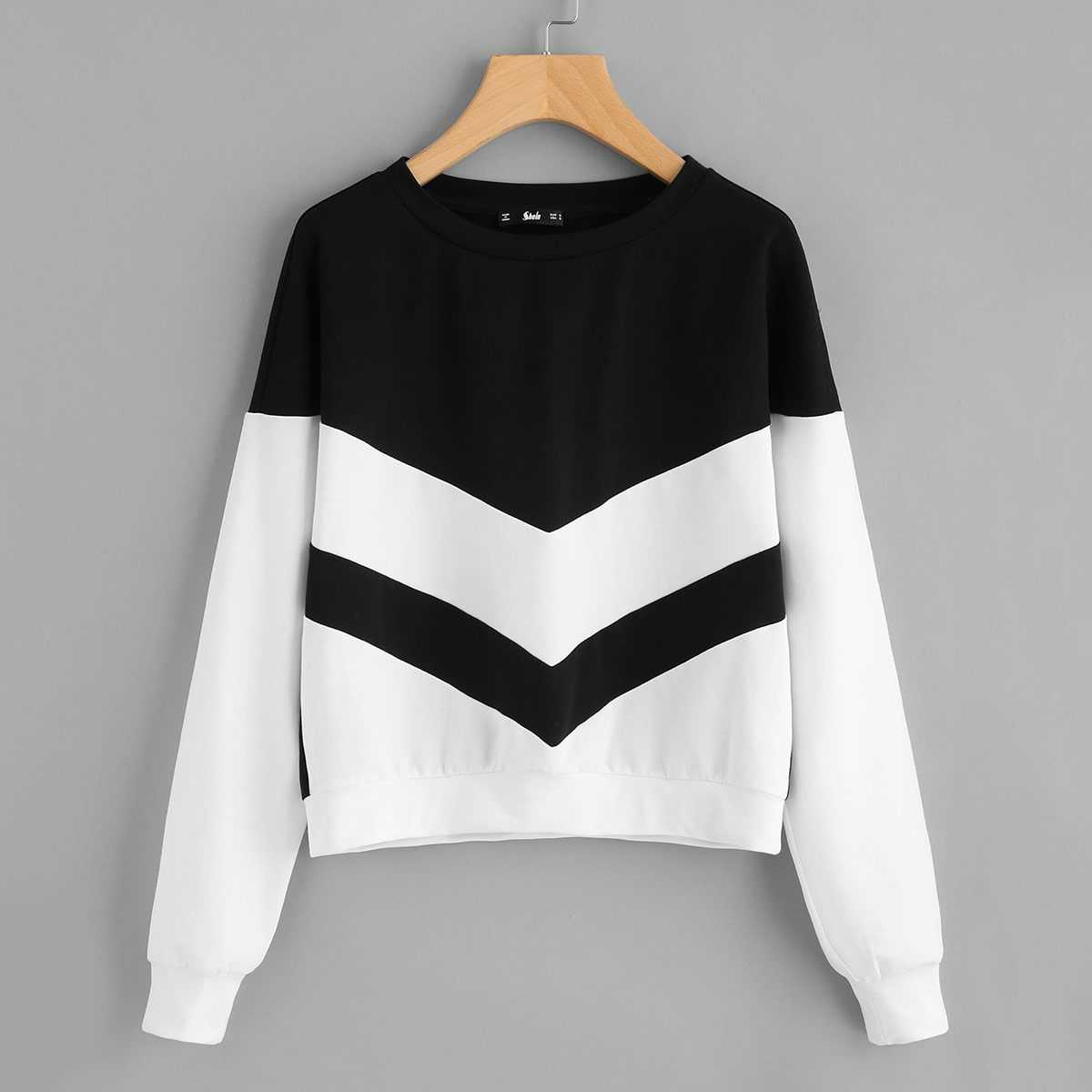Two Tone Chevron Pullover in Black and White by ROMWE on GOOFASH