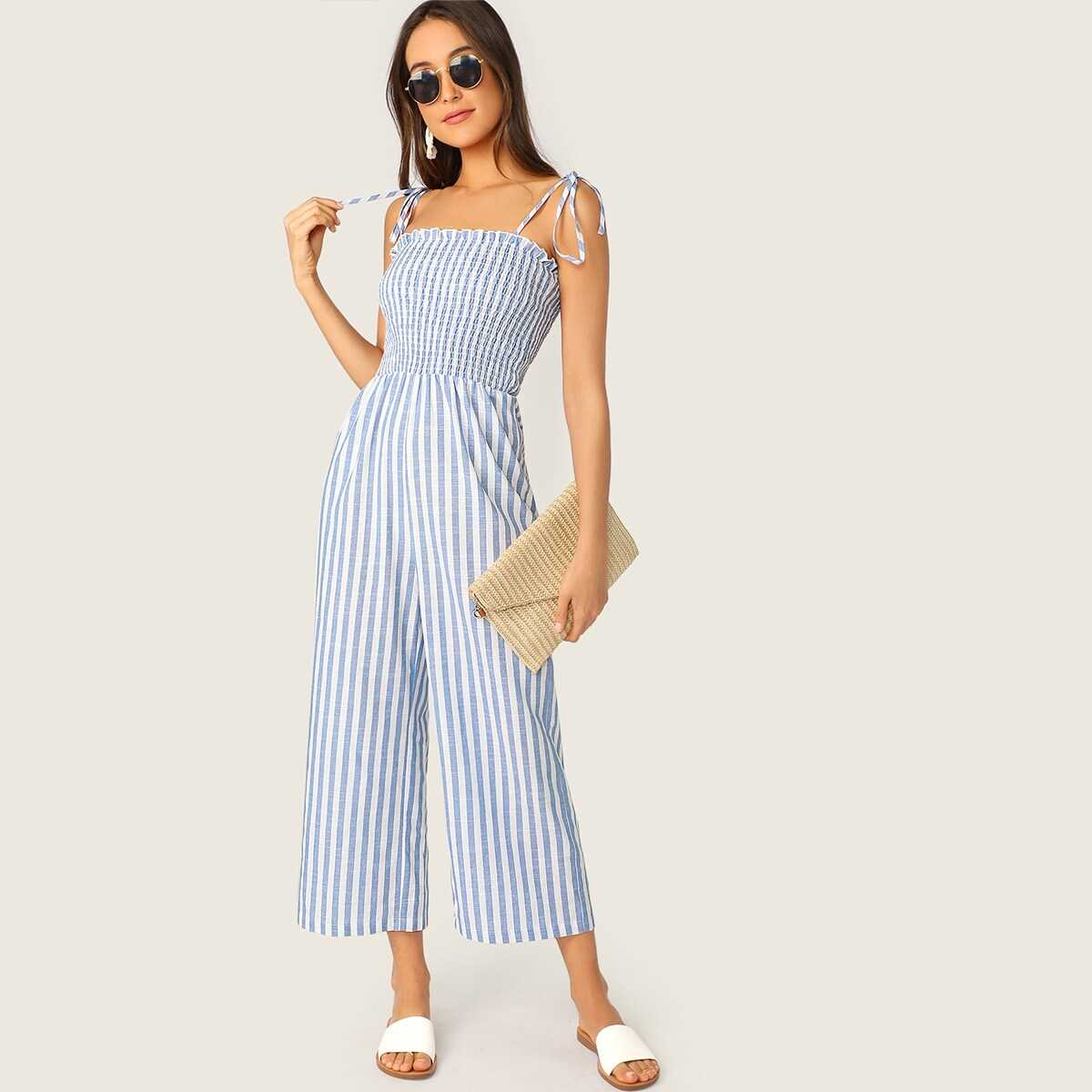 Two Tone Knot Shoulder Frill Smocked Striped Jumpsuit - Shein - GOOFASH