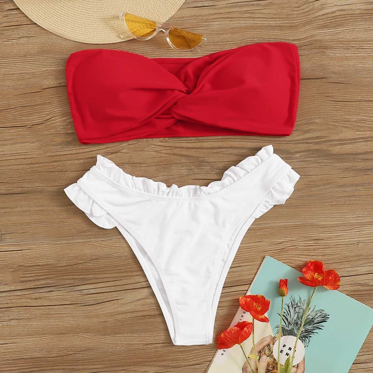 Two Tone Twist Top With Frill Trim Bikini Set in Multicolor by ROMWE on GOOFASH