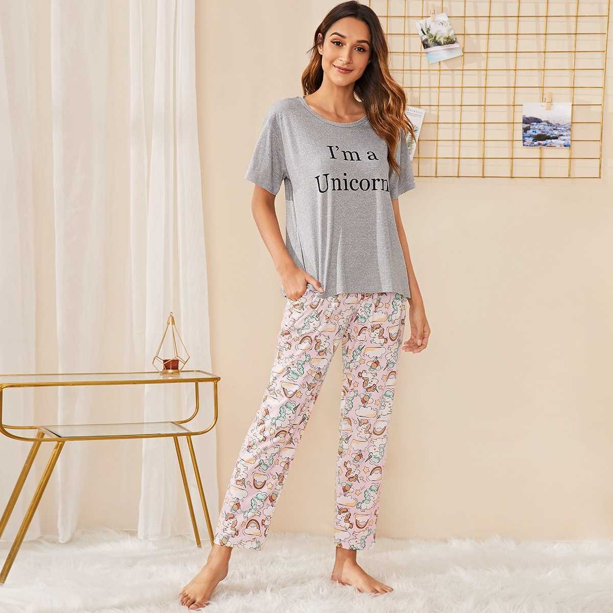 Unicorn & Letter Print Pajama Set in Multicolor by ROMWE on GOOFASH