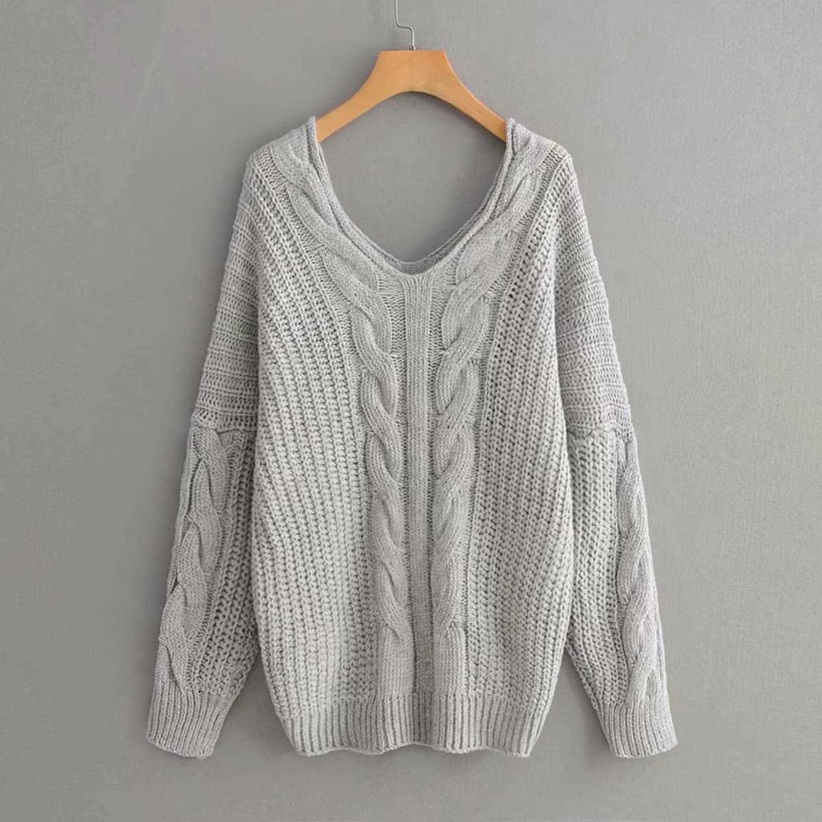 V Neck Drop Shoulder Cable Knit Sweater in Grey by ROMWE on GOOFASH